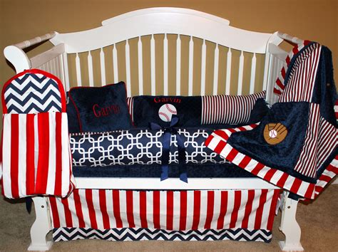 Baseball Crib Bedding Set Boys Custom Baby Bedding 6 Pc Set Take Me Out To The