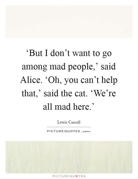 i don t wanna go to bed mad at you but i don t want to go among mad people said alice
