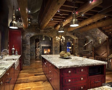 Rustic Country Bedroom Decorating Ideas stone mountain chalet with elevator and ski room