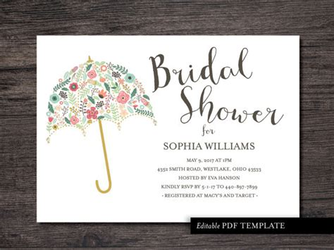 Umbrella Bridal Shower Invitation Template Bridal By Bridal Shower Invitation Template Free 2