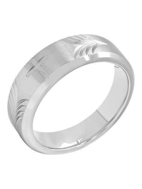 mens mm stainless steel tapered cross wedding band