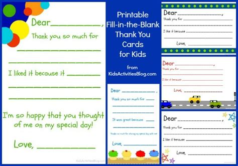 printable kid thank you cards with fill in the blanks 6 best images of free printable teacher thank you notes