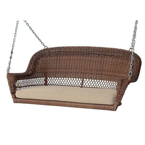 wicker swings jeco honey wicker porch swing with tan cushion w00205s c