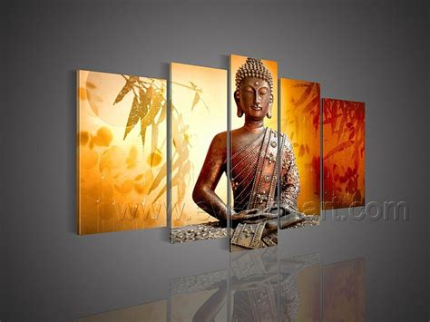 buddha oil painting wall art paintings picture paiting 5 pieces framed free shipping hand painted wall decor