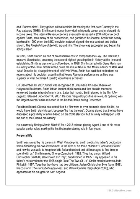 biography reading comprehension reading comprehension will smith biography worksheet
