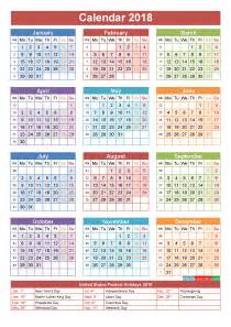 Calendar 2018 Federal Holidays 2018 Calendar With Holidays Printable Yearly Calendar Template
