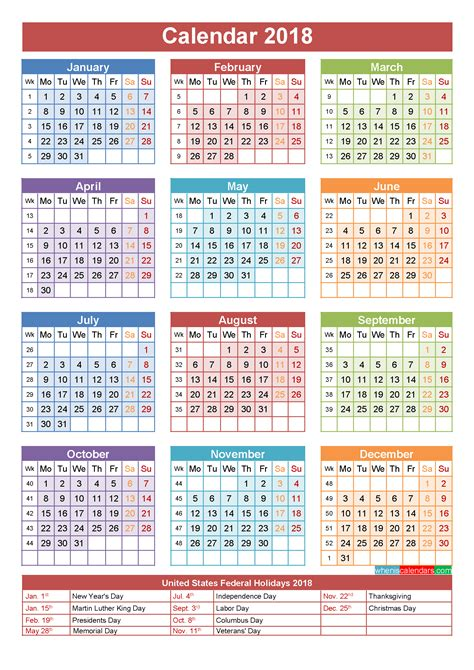 2018 Annual Calendar 2018 Calendar With Holidays Printable Yearly Calendar Template