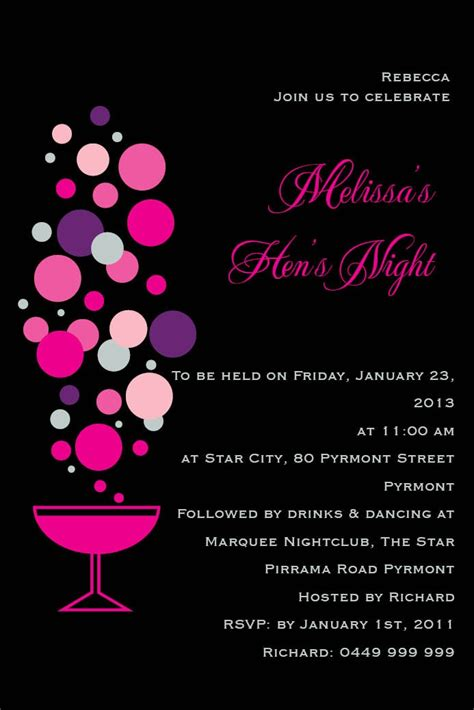templates for hens night invitations free anastasia card w magnet in hot pink invitation