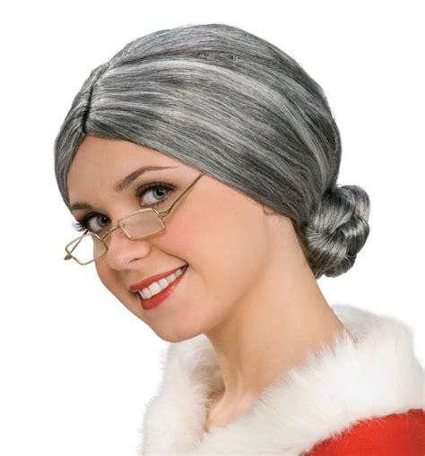 elderly long hair french bun wig old lady costume wig deluxe mrs claus elderly gray grey