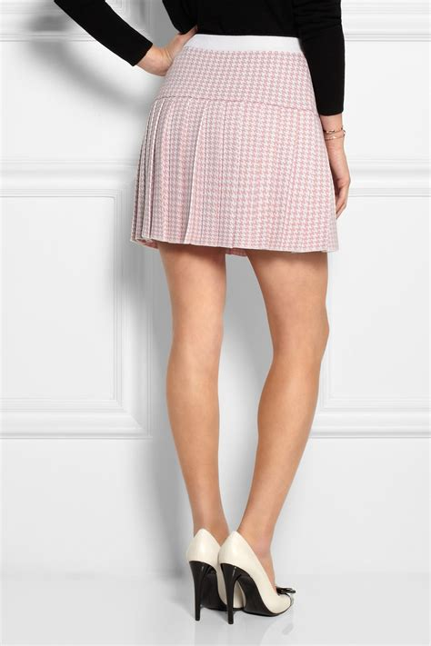 Houndstooth Pleated Skirt lyst miu miu pleated houndstooth wool mini skirt in pink