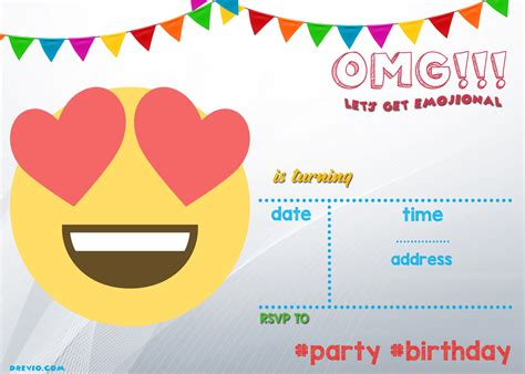 printable emoji birthday invitations free printable emoji invitation template drevio