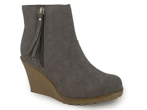 new grey suede ankle wedge shoes boots size 3 8 ebay