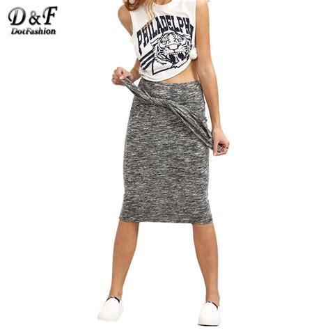 dotfashion grey knotted front sheath midi skirt