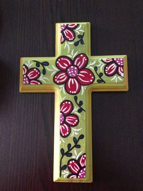 colorful crosses painted wooden cross colorful flower s artistic