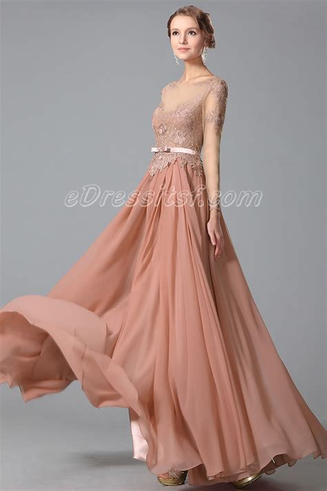 Dress E glamorous sleeves lace top evening gown formal dress