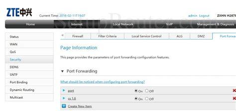 forwarding router zte zxhn h267n screenshot portforwarding