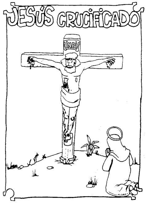 imagenes de jesus crucificado para colorear portal escuela dibujo quot jesus crucificado frente a maria quot