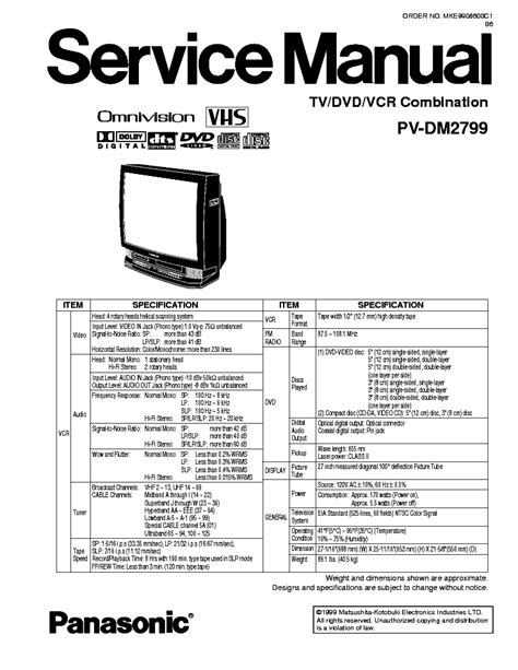 panasonic tv dvd vcr pv dm2799 service manual download schematics eeprom repair info for