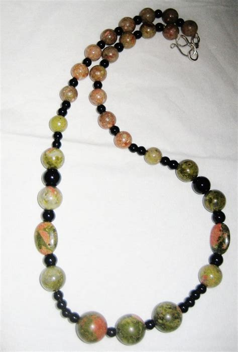 Trendy Handmade Jewelry - unakite gemstone black onyx necklace trendy