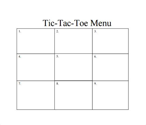 tic tac toe menu template tic tac toe template 7 free documents in pdf doc
