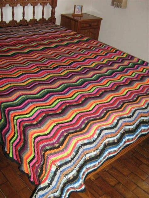 colcha de croche cla colorida em zigzag meus croches elo