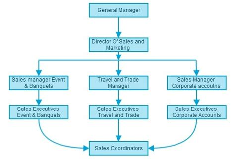 sle of organizational structure hotel sales and marketing organization chart