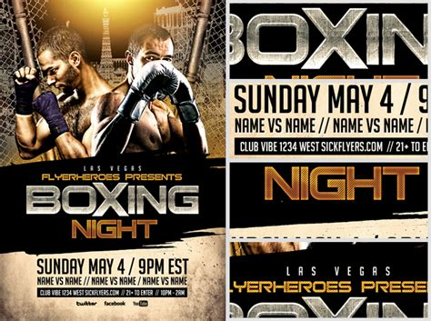 free boxing fight card template boxing flyer template 2 flyerheroes