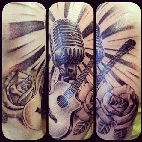 microphone tattoo neck 199 best guitar tattoos images on pinterest guitar