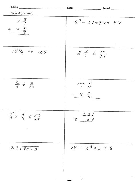 math worksheets for 6th graders 8 best images of