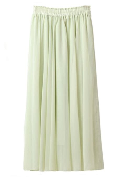 Floor Skirt by Green Pleated High Waist Floor Length Chiffon Skirt