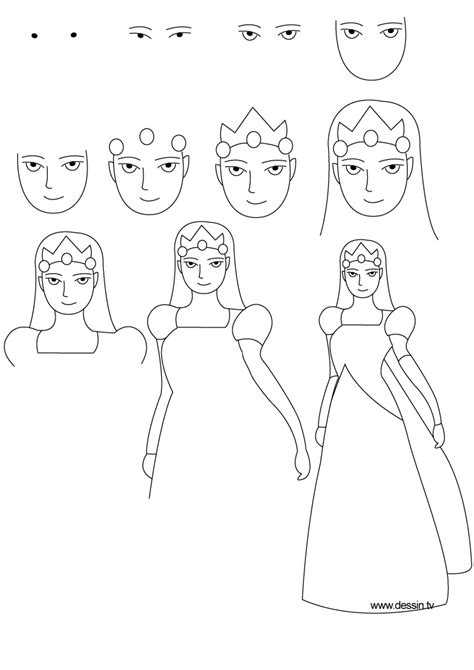 Drawing Princess How To Draw A Princess Dress Step By Step Printable