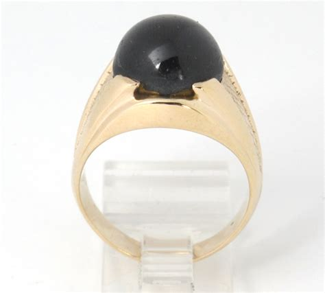 Golden Black Sapphire 18 10ct mens 18k yellow gold oval black sapphire gemstone