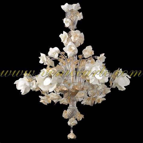 fiori in vetro di murano biancarosa ladario in vetro di murano