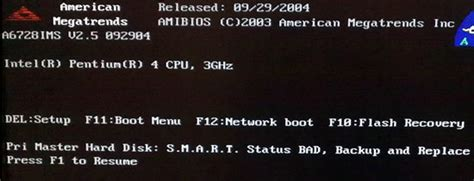 smart status bad backup and replace press f1 to resume