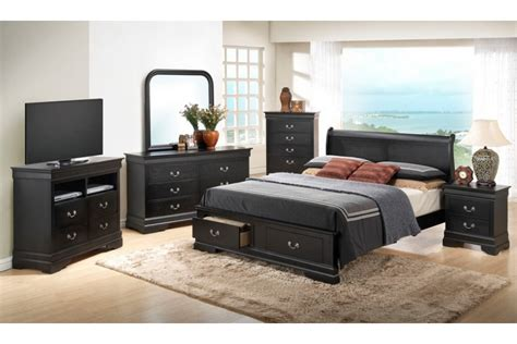 Black King Bedroom Set by Bedroom Sets Dawson Black King Size Storage Bedroom Set