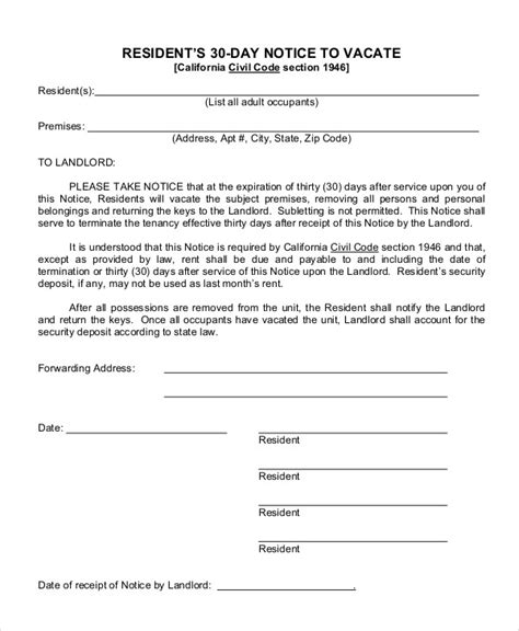 9 Exles Of 30 Day Notice Exles Sles 30 Day Notice To Landlord California Template