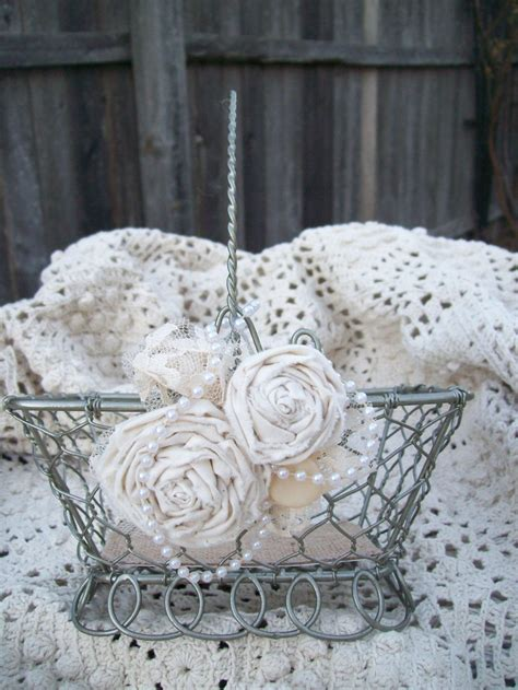 shabby chic flower girl basket vintage wedding steunk