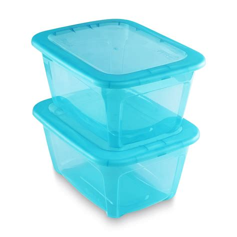 Organization Storage Containers - essential home 2 pack 14 quart storage containers teal