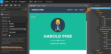 editor theme header converting html to wordpress pinegrow web editor