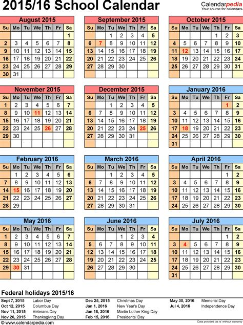 American Academic Calendar School Calendars 2015 2016 As Free Printable Pdf Templates