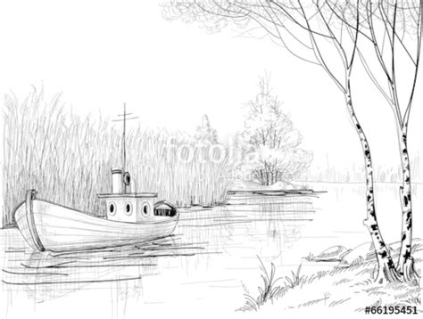 how to draw a boat in a river quot nature sketch boat on river or delta quot stock image and