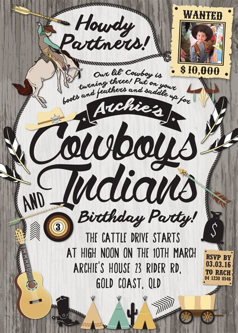 cowboy indian birthday invitations cowboys and indians invitation customized digital file indian theme birthday
