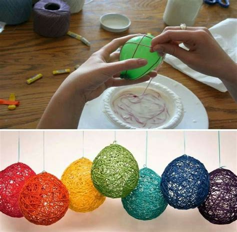 String Balloons - balloon glue left wool pop and hang use mod podge