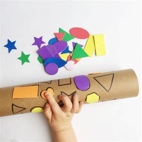 Paper Towel Crafts For Preschoolers - shape match with a recycled paper towel stickers