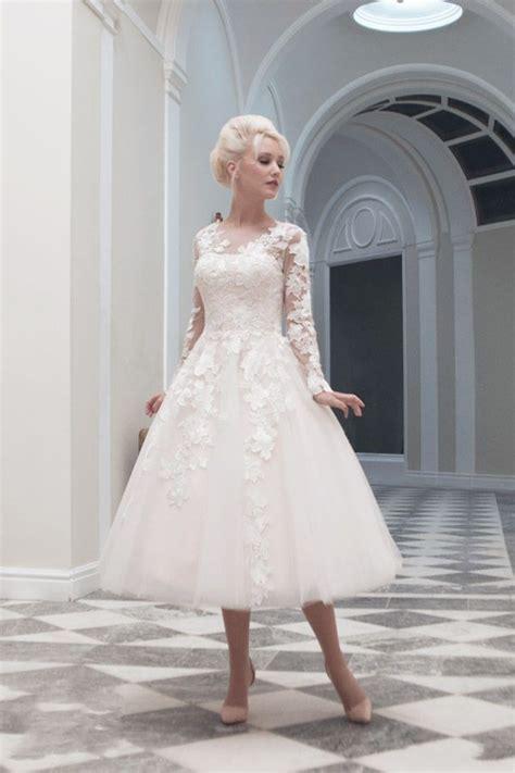 Brautkleid Mittellang by Tea Length Sleeves Illusion Lace Wedding Dress On Luulla