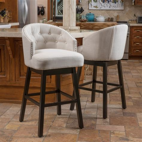 Metal And Fabric Bar Stools by Ogden Fabric Swivel Backed Barstool Set Of 2 By