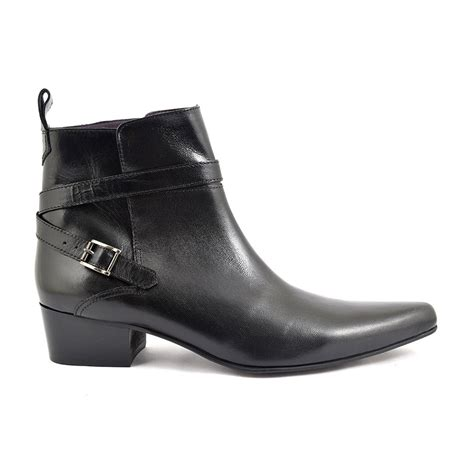 shop black buckle cuban heel boot gucinari