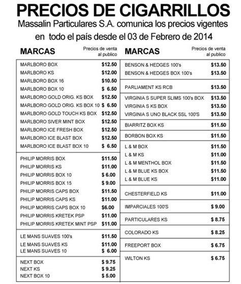aumento cigarrillos 2016 lista de precios aumento cigarrillos 2016 lista de precios new style for