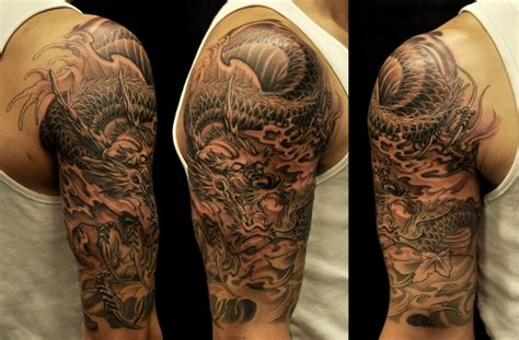 oriental half sleeve tattoo designs asian black and grey archives chronic ink