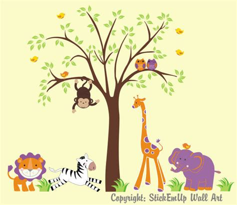 zoo animal wall stickers purple zoo animals and tree wall decals